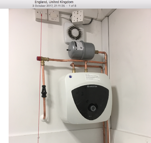 Hot water heater installed in disabled bathroom for highways england